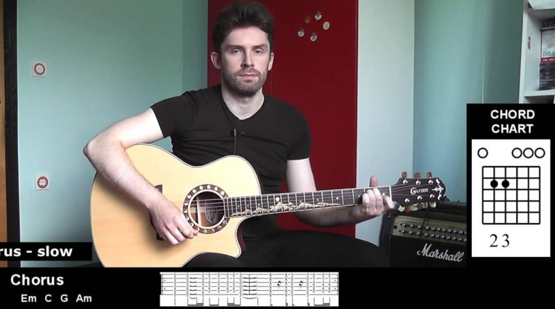 how to play just like heaven guitar